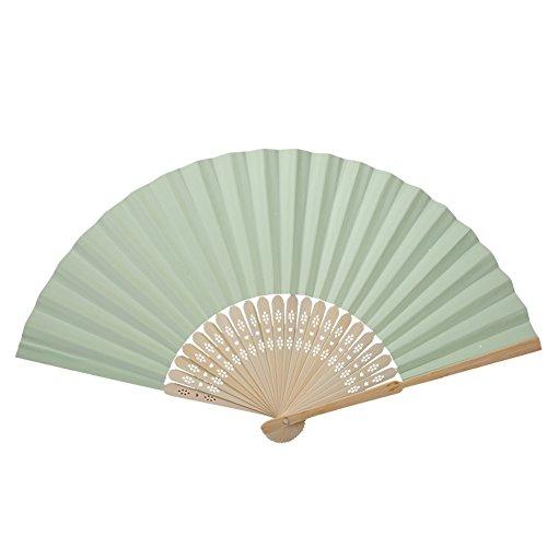GLOGLOW Hand Fans Papier und Bambus Folding Fan japanischen Stil Hand Fans für Tanzen Cosplay Hochzeit DIY Dekoration(Hellgrün)
