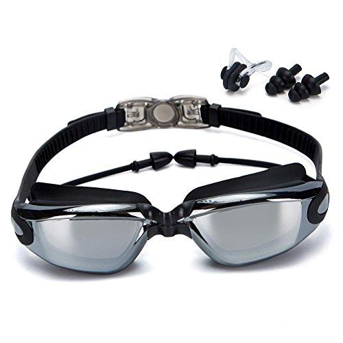 Zhao&ans Schwimmbrille, Schwimmbrille, galvanisiert, einfarbig, großer Rahmen, wasserdicht, Anti-Beschlag-Schwimmbrille mit 100% UV-Schutz (Schwarz)
