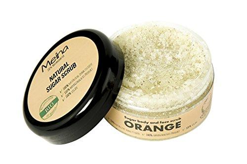 Meina – Körperpeeling Bio mit Orange – Gesichtspeeling und Lippenpeeling für Damen und Herren – Face, Lip, Body Scrub Peeling – Naturkosmetik Peeling – 280g