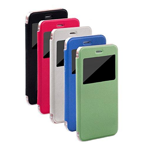 Apple iPhone 7 (4.7 Zoll) | iCues Poblano Tasche Carbon Schwarz | Sichtfenster Fenster Extra Leicht sehr Dünn Transparent Klarsichthülle Durchsichtig Klare Klarsicht Leder - Imitat Book Klapphülle Sch Peacock Pink