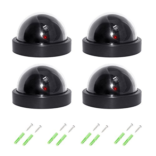 4xQuality Dummy fake outdoor indoor cctv dome security camera with Red LED Flashing with Warning Security Alert Sticker Decals