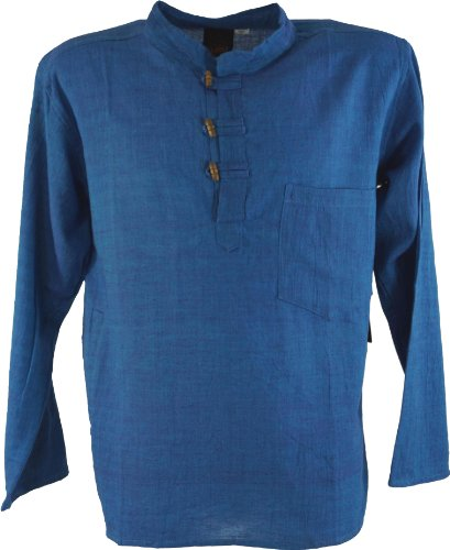 Guru-Shop Nepal Fischerhemd Goa Hippie, Herren, Blau, Baumwolle, Size:M, Männerhemden Alternative Bekleidung