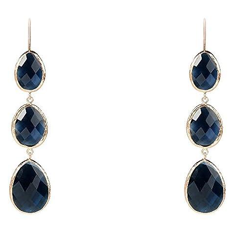 Rosegold Triple Drop Earring Sapphire Hydro