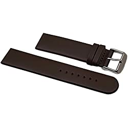 20mm Smooth calf leather watch strap band in brown with buckle in silver