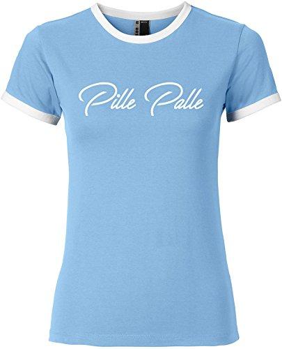 EZYshirt® Pille Palle Damen Rundhals Ringer T-Shirt Hellblau/Weiss/Weiss