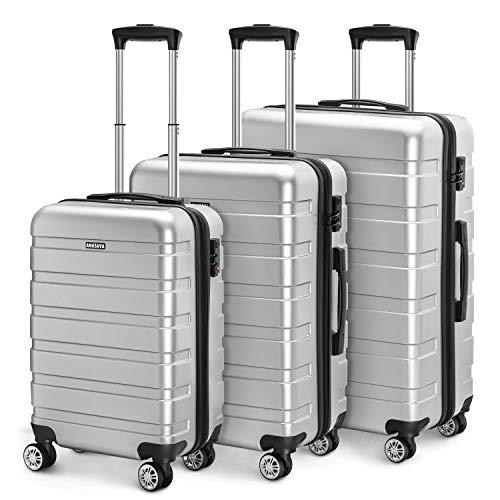 Amasava valigie rigide ABS+PC hard shell super leggero da viaggio Carry On trolley 8 ruote valigia,55cm/40L,65cm/65L,75cm/101L, Argento