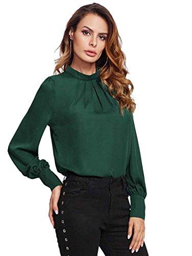 ROMWE Damen Elegant Chiffonbluse Stehkragen Langarm Tunika Bluse Grün S