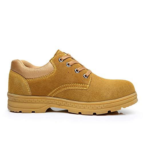 Unbekannt Arbeitsversicherung Schuhe Herren Stahlkappe Anti-Smashing Sommer atmungsaktiv Deo leichte legere alte Schuhe Arbeitsschuhe, Leder gelb, 45