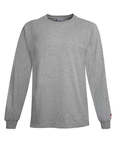 Adult Long Sleeve Taped Crewneck Tailliertes T-Shirt, Leichter Stahl, Klein - Stahl-crewneck