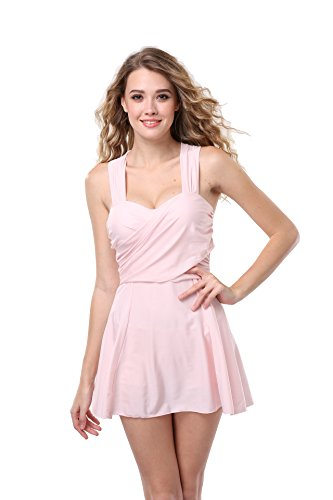 SZIVYSHI Damen Sexy Eleganter Figurumspielendes Push Up Badeanzug-Kleid Tankini Röckchen 5 Farben (XXL, Gummipulver) -