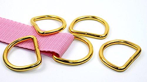 D-Ringe-Halbringe, 10 Stück 30x23x4mm *Farbe: gold* für 30mm Gurt/Band geeignet.