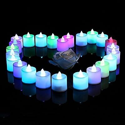 lederTEK 24 Packs Battery Powered Coloured Flameless Flickering Electric Tea Candles Lights, Novelty Christmas Decorative LED Lamp for Wedding, Xmas, Party Decor, Outdoor Lighting, Dinner, Garden by lederTEK