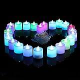 lederTEK 24 LED Kerzen Flammenlose Teelichter, flackernde Kerze Teelichter, elektrische Teelichter Batterie Weihnachtskerzen Deko für Weihnachten, Weihnachtsbaum, Weihnachtsdeko, Hochzeit, Geburtstags, Party(Bunt)