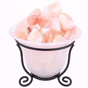 Vase décoration lumineuse avec cristaux de sel de l'Himalaya