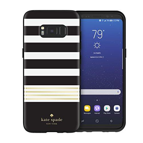 kate spade New York Hardshell Schutzhülle Case für Samsung Galaxy S8 - Streifen 2/Gold Folie/Schwarz/Creme