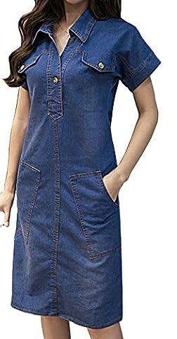 HONFON Femme Robe Casual Jean Poche Revers Collier Blouse Manches Longues Denim Blouse Tunique Chemisier Chemise Slim Fit
