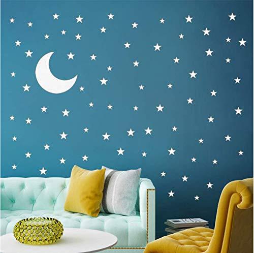 HHKX100822 Mond Stickers and Stars Wandtattoo Vinyl Für Kinder Jungen - Mädchen - Baby - Raum - Dekoration - Wand - Aufkleber (Raum Baby-mädchen-dekorationen Für)