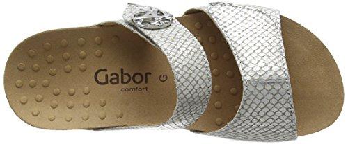 Gabor  Shani, Sabots femme Argent - Silver (Silber Boa Snake Leather)