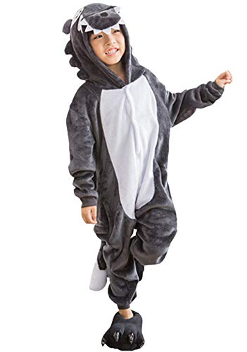 Pyjamas Kigurumi Jumpsuit Onesie Mädchen Junge Kinder Tier Karton Halloween Kostüm Sleepsuit Overall Unisex Schlafanzug Winter, Grau Wolf