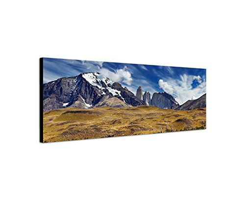 Sinus Art Wandbild 150x50cm Patagonien Nationalpark Berge Wasser Tiere