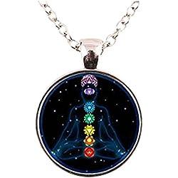 Colgante de plata colgante de Chakra Reiki Chakra collar de piedra Chakra de curación de cristal de Chakra Yoga collar