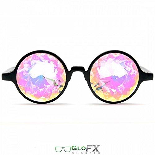 GloFX Kaleidoskop Brille - Regenbogen Rave Prisma - schwarz