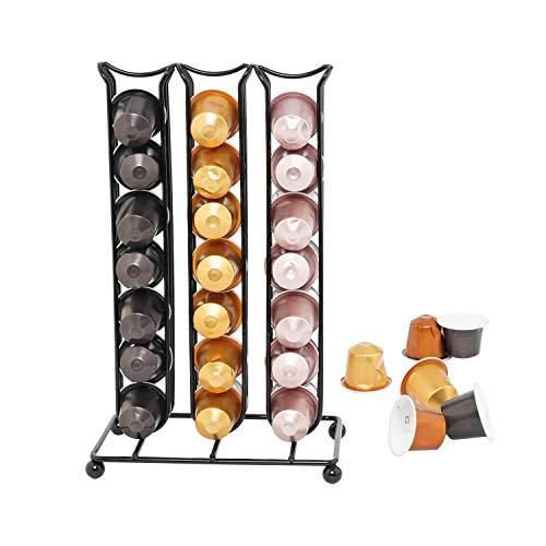 soprety Soporte para cápsulas Nespresso, dispensador de cápsula, Organizador de Pared, Soporte para cápsulas, Bandeja para cápsulas, Capacidad 42 Pods (no incluidos los pedes), Color Negro