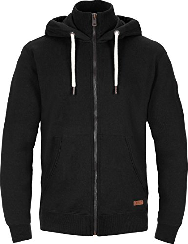 SOLID Toto Herren Jacke Sweatjacke Sweater Kapuzenjacke Zip Hoodie Zipper Männer Kapuze Baumwolle Einfarbig Reißverschluss, Farbe: (Schwarz) black (9000) Größe: XL