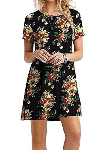 OMZIN Damen Casual Kleid Loose T-Shirt Kleid Kurzarm Langes Shirt Mini Sommerkleid A-Line Flowy,Schwarz Gelb Blumen,5XL (Mädchen In Gelben Kleid)