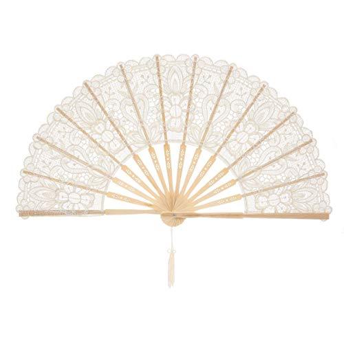 cher Chinesischer Blumen Stoff Fächer Bambusgriff Wandfächer Hochzeit Party Tanzen Fasching Weiß ()