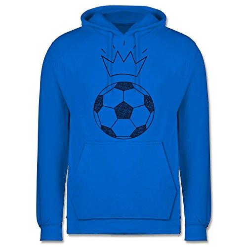 Fußball - Fußball Skizze mit Krone - Männer Premium Kapuzenpullover / Hoodie  Himmelblau