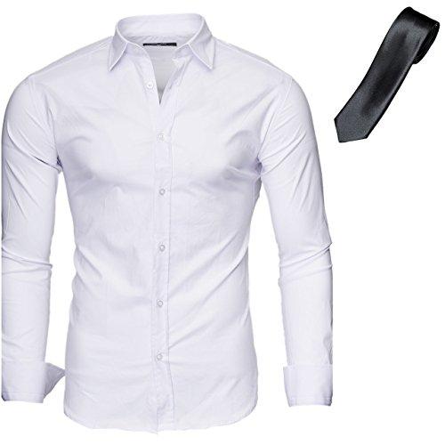 KAYHAN Herren SlimFit Hemd im Set mehrere Farben zur Auswahl Weiß