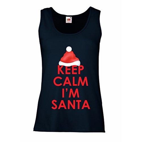lepni.me Damen Tank-Top Bleib 'ruhig, ich Bin Weihnachtsmann, lustige Weihnachtsferien (X-Large Blau Mehrfarben)
