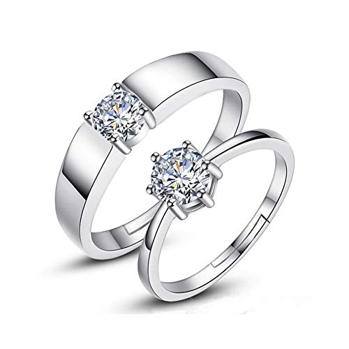 Trifycore las mujeres para hombre de plata anillo de compromiso anillo de compromiso anillo de Zirconia Anillo ajustable Parejas