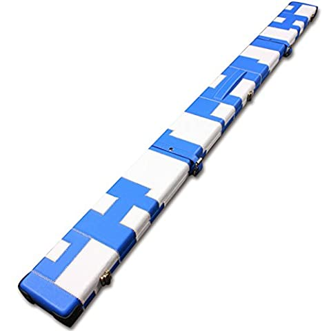 Handmade 1 Piece Wide Snooker Cue Case - Blue/White - (Holds 3 x 1 Piece Cues)