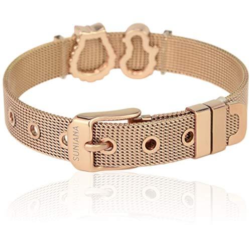 SUNIANA - Mesh Armband Set mit Charms ||Xmas|| individuell erweiterbar (Rosegold)