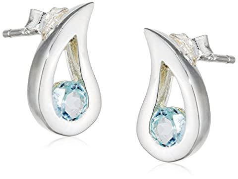 Elements Silver E3057T Ladies' Blue Topaz Teardrop Sterling Silver Earrings