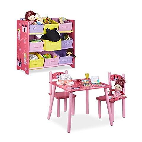 2 teiliges Kinderzimmer Set rosa, mit Prinzessinnen-Motiv, Kindersitzgruppe, 1 Tisch 2 Stühle, Kinderregal, Spielzeugaufbewahrung