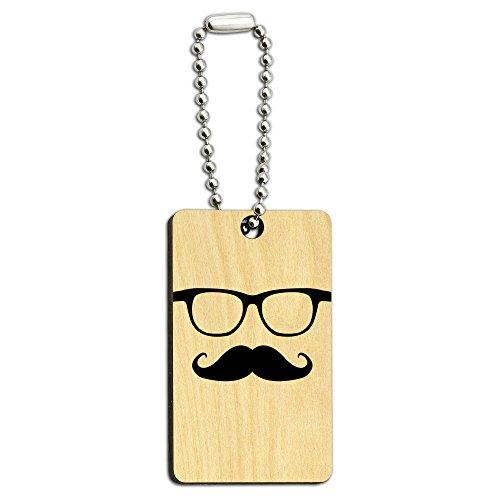 Schnurrbart Holz Rechteck Schlüssel Kette (Schnurrbart Und Gläser)
