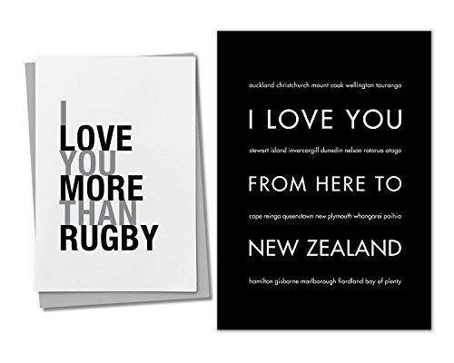 5 X 7 Rugby (HopSkipJumpPaper 2-Teilige Neuseeland: (1) 5x 7Schwarz Kunstdruck und (1) Rugby Grußkarte)