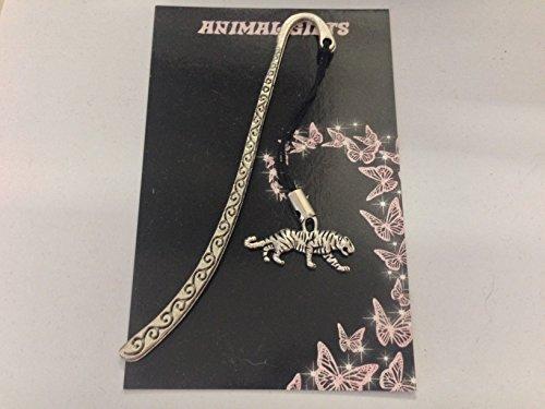 Tibetisches Silber Weiß Tiger Gemustert Lesezeichen mit Kordel sehr feine Details kommt mit Retail Verpackung CH54