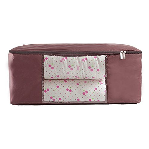 Unimango- Bolsa de almacenaje, impermeable y plegable, transparente, ideal para guardar edredones o colchas, ropa, juguetes, perfecto para ahorrar de espacio, Oxford, café, L: 60x40x25CM