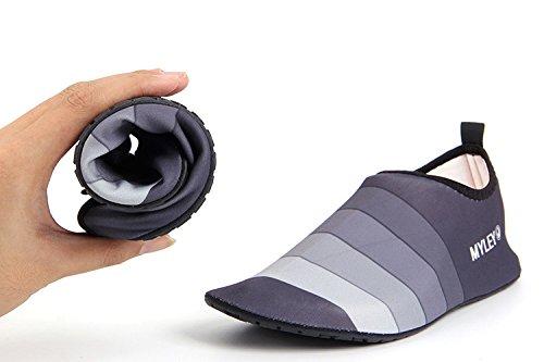 HYSENM Unisex Barfußschuhe Strandschuhe Schwimmschuhe Lycra leicht Streifen für Wassersport Yoga Hausschuhe Grau