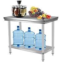 Mesa de Trabajo de Acero Inoxidable Tabla de cocina profesional para cocina Mesas de Cocina Preparación comida Restaurante 100x60x80cm
