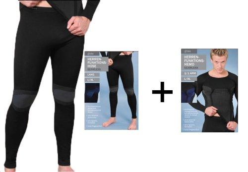 1 Set Herren Ski Sport Thermo Funktions Unterwäsche Seamless Hemd + Unterhose (L/XL)