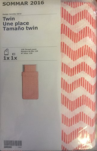 Ikea Sommar Twin Bettbezug Orange und Weiß Chevron Muster (Orange Bettbezug Twin)
