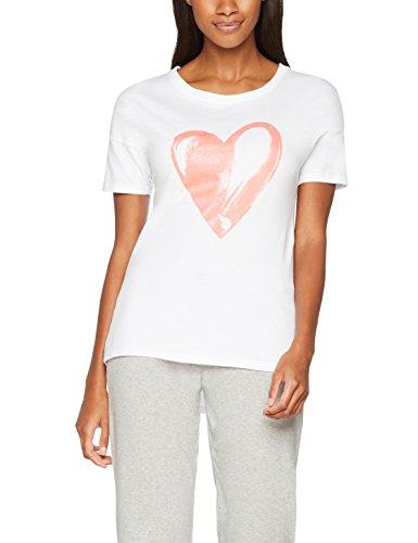 Iris & Lilly Damen Schlafanzug-Oberteil mit Herz-Print, Weiß (White/Pink), X-Small