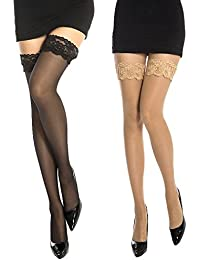 9b2b14803ee MANZI Women s 2 Pairs Sheer Sexy Lace Thigh High Stockings Tights ...