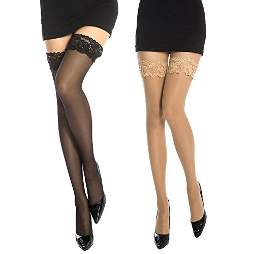 MANZI 2 Pairs 20 Denier Stockings Women's Non-slip Silicone Lace Ultra Sheer Stockings