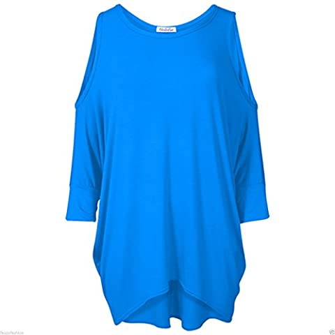 NEW WOMENS LADIES CUT OUT COLD SHOULDER BATWING LONG TOP TUNIC DRESS PLUS SIZE -TURQUOISE-16-18